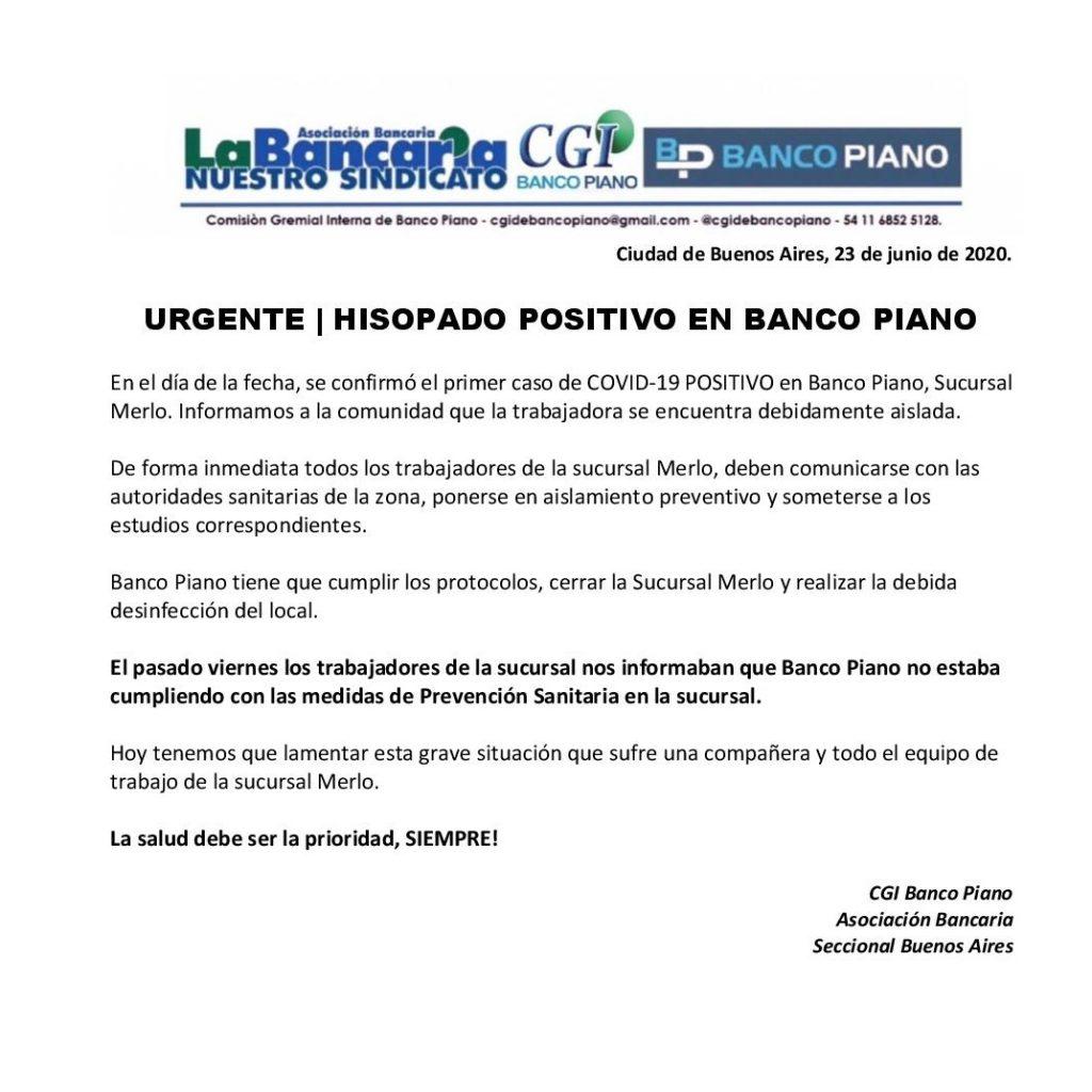 Coronavirus. La Bancaria confirmó su primer Positivo en el Banco ...